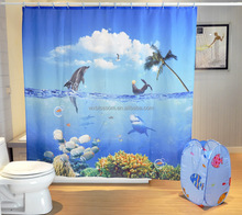 Stylish collection ocean fish shower curtains with hooks