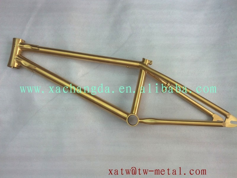 anodized titanium BMX bicycle frame golden titanium bmx bike frame colorful BMX bike frame custom
