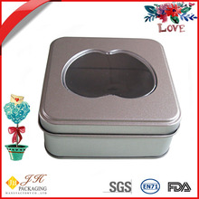 JH Square love condom metal tin box with pvc window lid