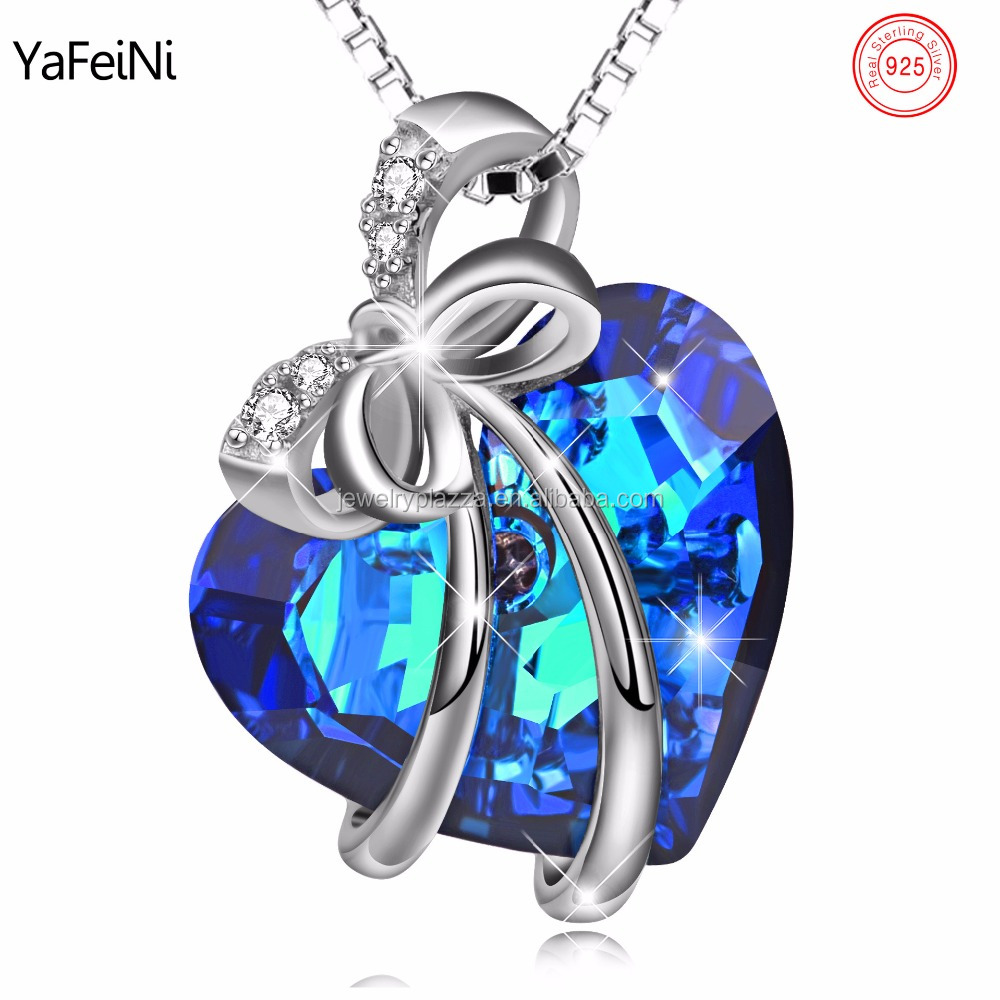 925 Sterling Silver Jewelry Wholesale Blue Crystal Jewelry Bowtie Pendant Necklace Beautiful Gift For Christmas