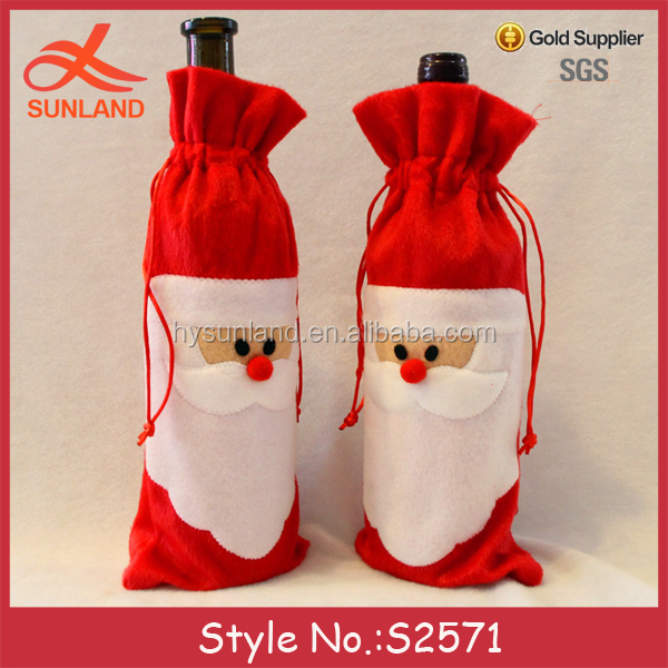 S2571 new Christmas Day gift cover wine tote bottle bags wholesale