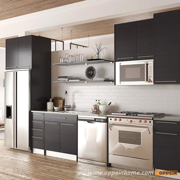 Straight Modular Kitchen 8 Square Modular Kitchens: Oppein Modern Textured Melamine Modular Small Kitchen Unit