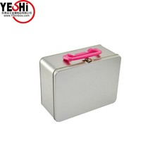 Large Silver Slide Top Metal wholesale tin lunch box with handle and lock