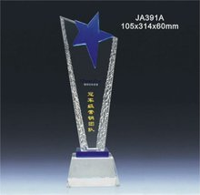 Star design clear crystal engraved sport award