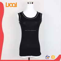 Beaded lady blouse sleeveless o-neck black tank top ladies fashion new tops
