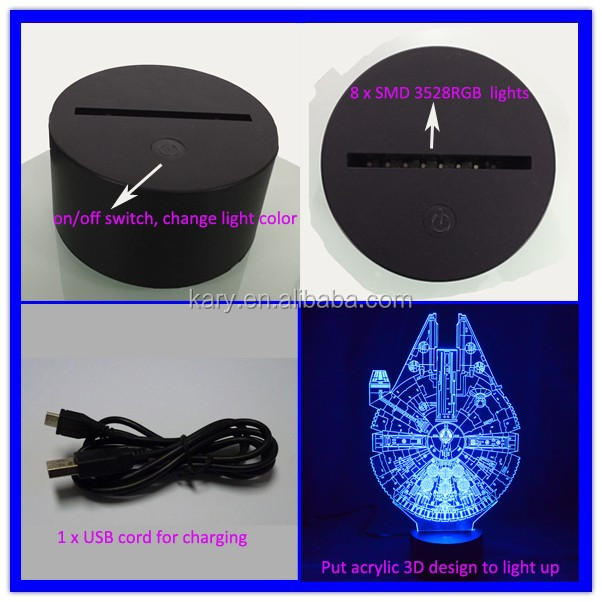 Kids Room Decor Optical Illusion Night Light led 3D lamp