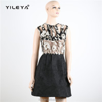 luxury sleeveless hollow out princess dress with black skirt
