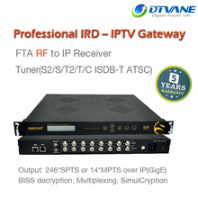 8 Channel Professional Receiver International Satellite TV Receiver Descrambler IP Out Satellite Free To Air IPTV Ott
