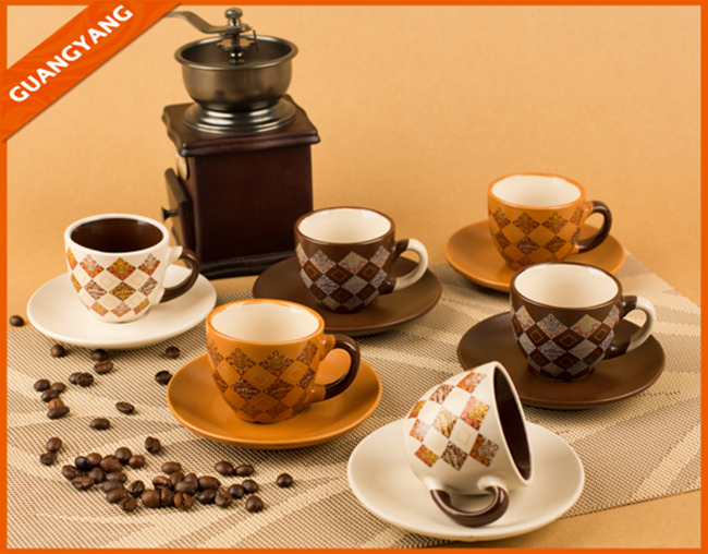 European stylish printed afternoon tea time tea sets, bulk coffee/ tea cup and saucer wholesale