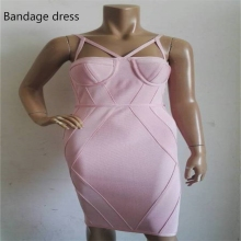 2017 high quality newest Blush pink straps cut out bandage dresses wholesale