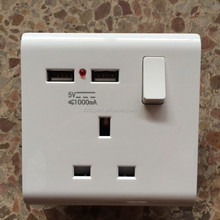 3 square pin wall socket with 1.0 amp usb 13amp british socket with two usb port
