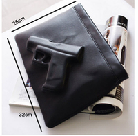 Free shipping unique fashion women envelope bags with strap connectors 3d printing gun black bag