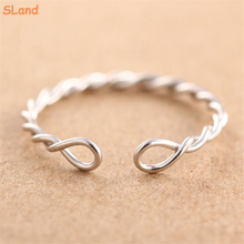 SLand Jewelry Low MOQ wholesale simple Silver/Rhodium/Rose gold plated twisted 925 sterling silver wire ring for girl finger