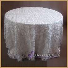 TL001J2(1) cheap wholesale lace tablecloths,chemical lace sequin table cloth silver overlay