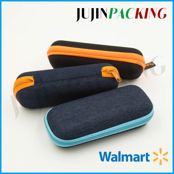 Jean fabric zipper eyeglass case leather glasses case