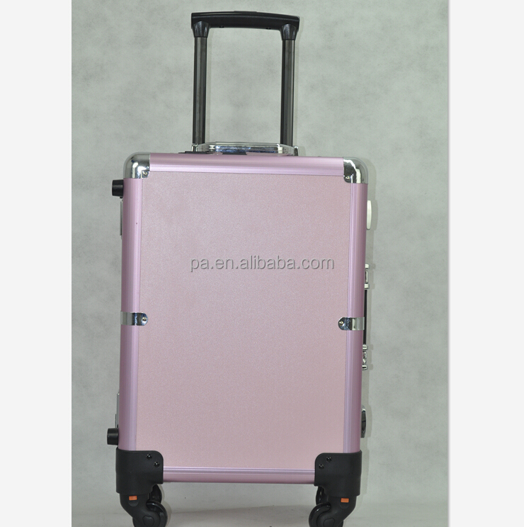 Professional Manufacturing Wheeled Aluminum Trolley Luggage Travel Jewelry Cosmetic Case