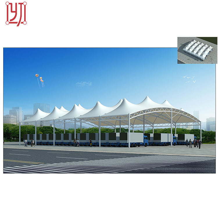 Ptfe pvdf tensile fabric roof sport playground shade membrane structure