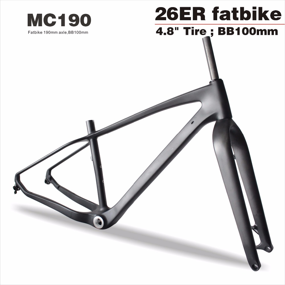 Miracle Bikes Mc190 Carbon Fat Bike Frame,26er*4.8\