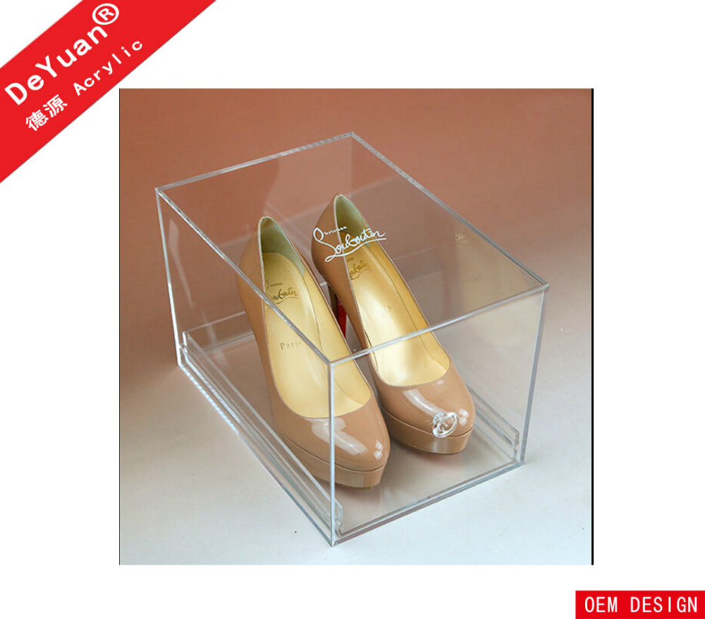 Manufacturer Price Custom Transparent Acrylic Shoes Box With Lid