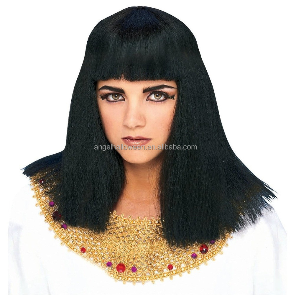 Cleopatra Egyptian Queen Goddess Black Women Costume Synthetic Wig For Party FW2259