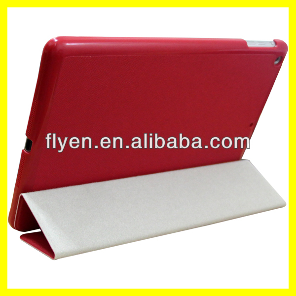2014 Ultra thin folio trifolding pu leather case for ipad air cross pattern