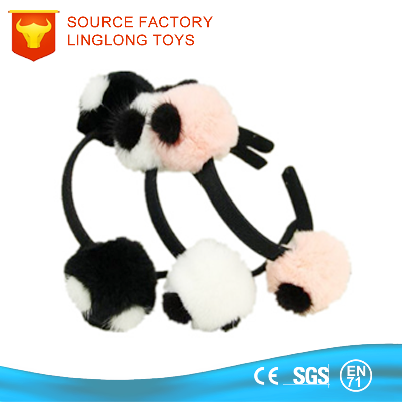 Colorful Kids Plush Head Band Soft Hairband Hair Hoop With Ball Toy Imitation Fur Plush Ball Headband Headwear