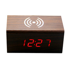 KH-0327 LED Wooden Alarm Clock New Travel QI Portable Mobile Phone Wireless Charger