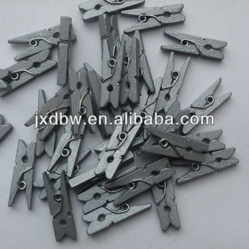 Wholesale Silver Color Mini Wood Clothes Pegs