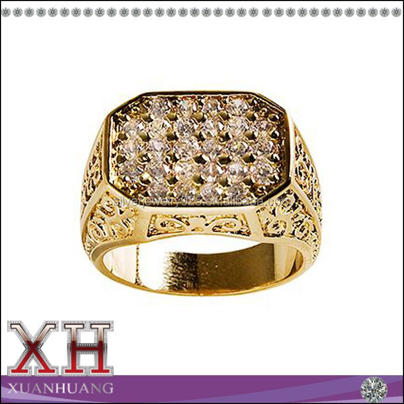 Xuan Huang Brand Sterling Silver Jewelry 14K Yellow Gold Pave CZ Men's Ring