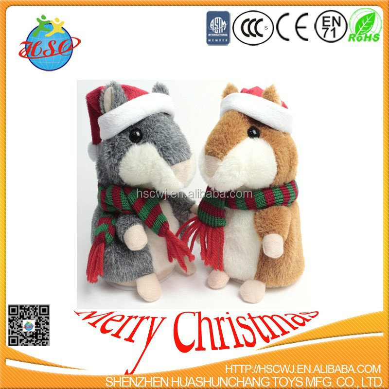 custom cuddly plush hamster christmas toys for kids