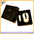 Custom Made VIP Quality Mouse And Crystal USB Promotional Gift Set In High Quality Gift Box Set