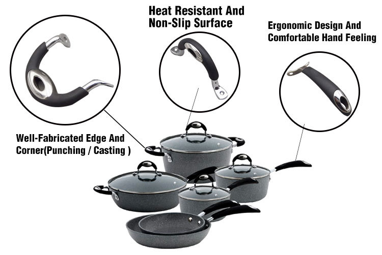 Wrought Iron Metal Stainless Steel Cookware Set Removable Handle