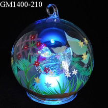 Wholesale color changing hand paint glass ball with a lovely hen inside for decoration