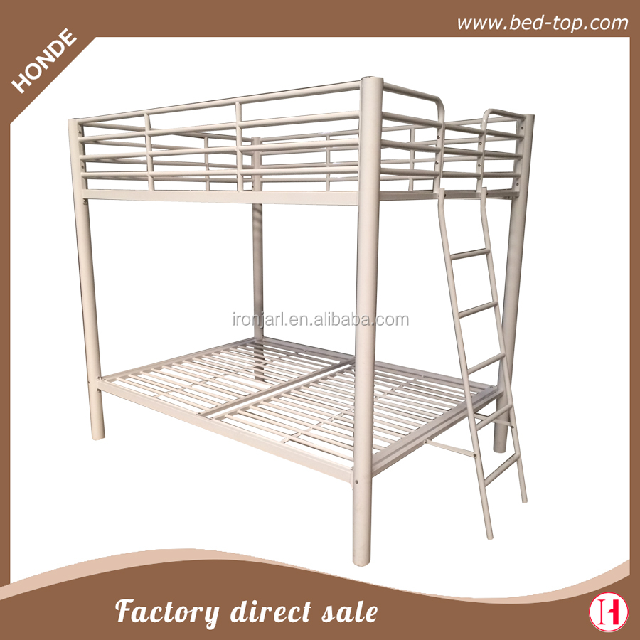 White Queen Over Queen Metal Double Bunk Bed