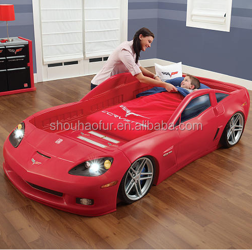LED acing car bed car toddler to Twin Bed with Lights - Red