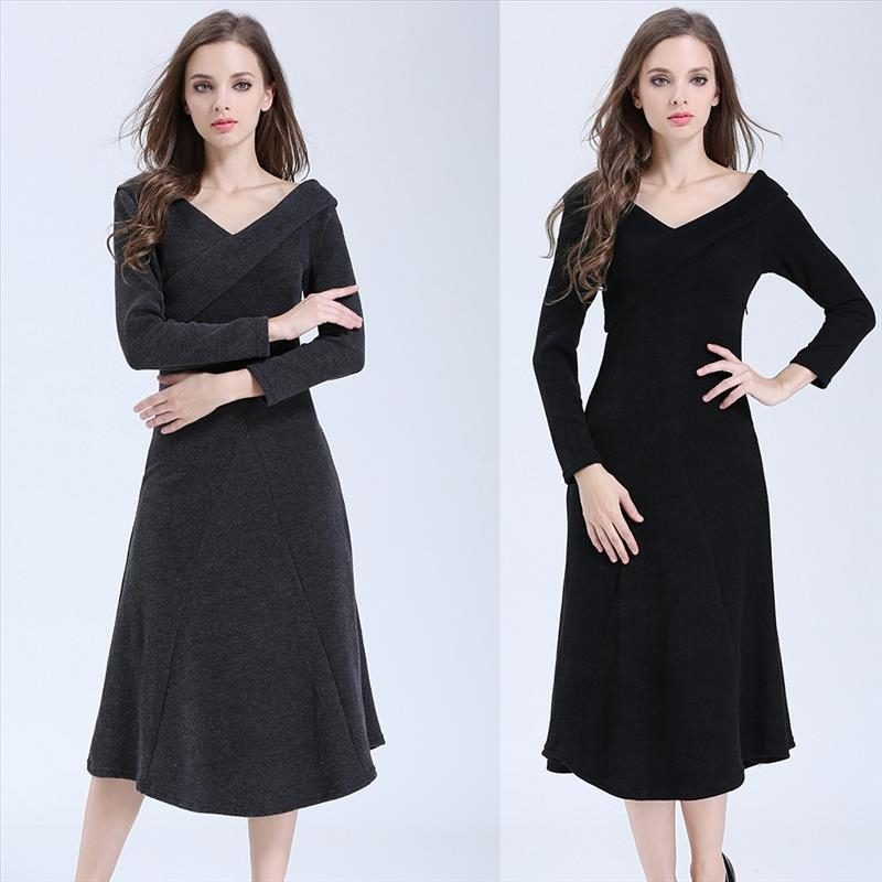 2017 Wholesale Women's V-Neck Long Sleeves Dress Kintted Cotton Plain Blank A-line Elegant Ladies Party Bodycon Dress
