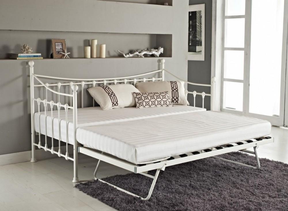 versatile ivory metal guest day bed frame with trundle. Black Bedroom Furniture Sets. Home Design Ideas