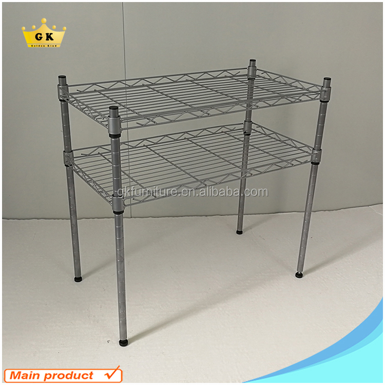 Foodgrade Powder Coating finishing Metal shelf Rack Table in Silver color Made in China