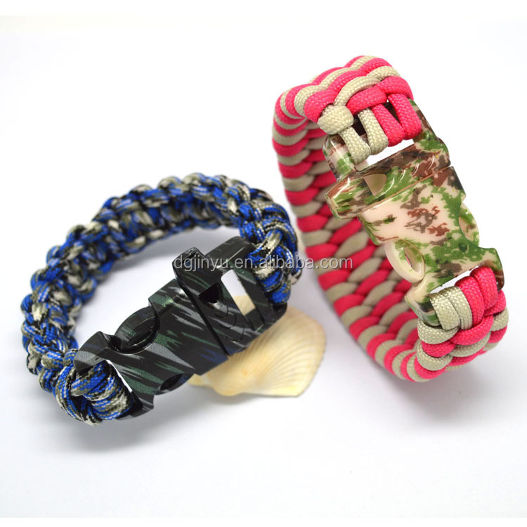 7 stands paracord bracelet with logo/whistle buckle paracord bracelet