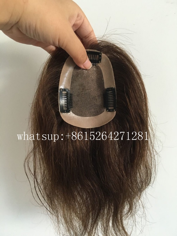 8inch length 2# dark brown hair pieces for top of head 7*10cm hair pieces for black women