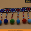 Hot sell national style ribbon Pom Pom tassel lace trim multi-colors beaded tassel fringe trims for curtain