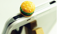 Hot Sell Valuable Cute Simulated Hamburger Phone Anti Dust Plug Cell Phone Accessories For Iphone4 5 6 3.5mm Earphone Jack Plug