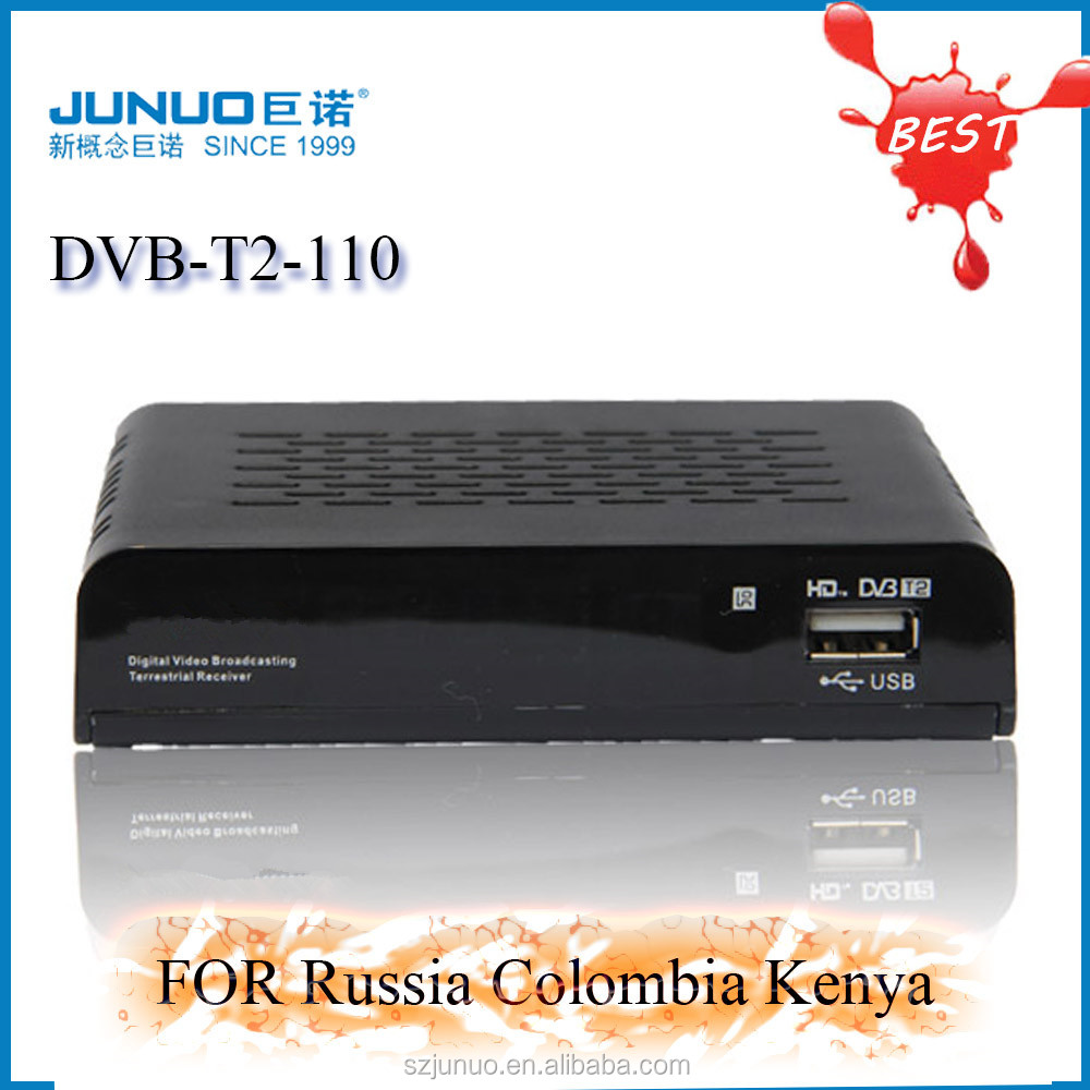Global popular DVB-T2 tv terrestrial receiver HD set top box tv with rf tuner dvb-t2 mpeg4 hd receiver for Russia & Colombia