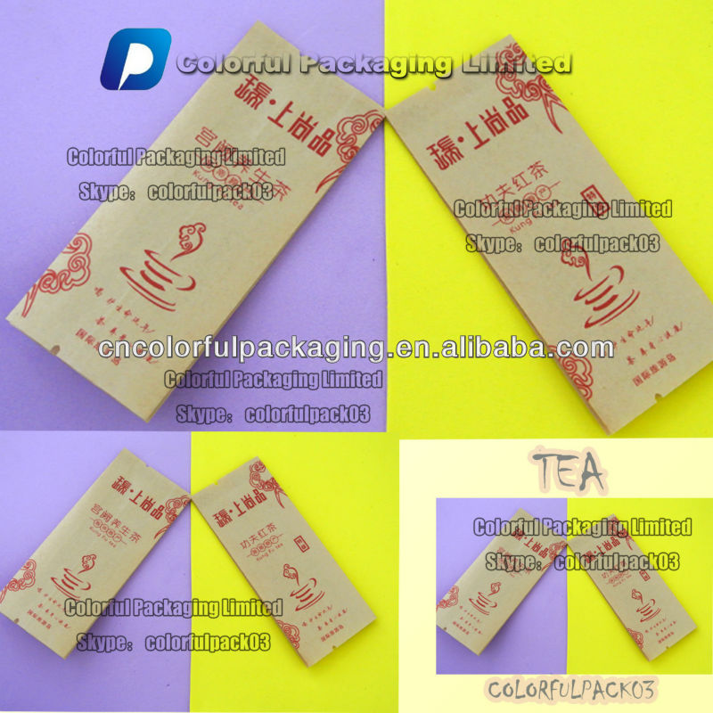 Laminated kraft paper side gusset tea bag with tear notch/Kraft aluminum foil teabags for tea
