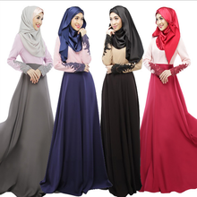 2018 new fashion muslimah long dress for women elegant with lace sleeve