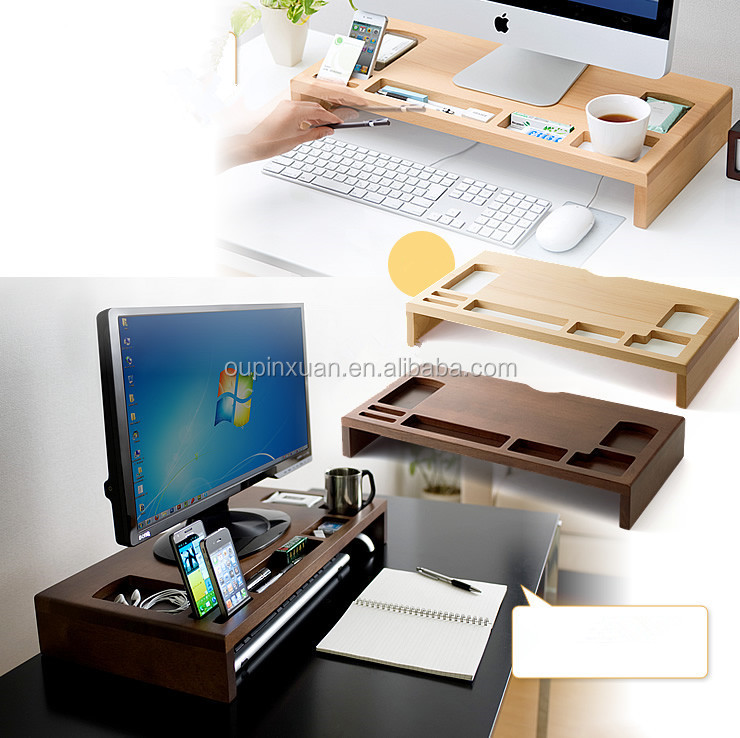 100% Eco Friendly Bamboo IMac compture desk new design multifunction phone holder pen holder home desk storage box