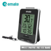 Celsius or fahrenheit indoor outdoor temperature humidity gauge with time clock