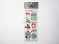 3d grey board christmas cartoon graphic decorative sticker,kids cute puffy sticker