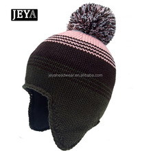JEYA plain blank beanie winter hat outdoor crocheted brim beanie ski hats,with soft earflaps