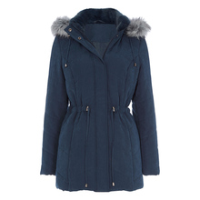 European Style Petrol Blue Quilted Parka Coat with Hood for women